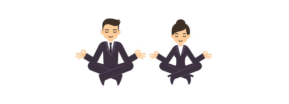 duas pessoas meditando